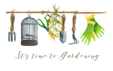 Gardening. Watercolor set.