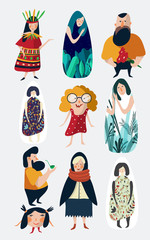 Vector cartoon illustration character set. Sleepy girl, kid, hipster, indian girl