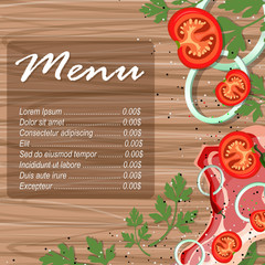 Design template for meat menu. Menu label with meat meal