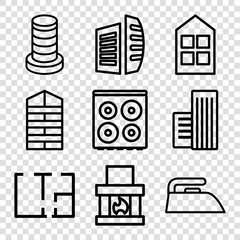 Set of 9 house outline icons