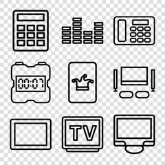 Set of 9 display outline icons