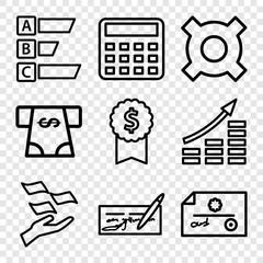 Set of 9 economy outline icons
