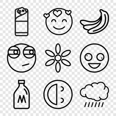 Set of 9 yellow outline icons