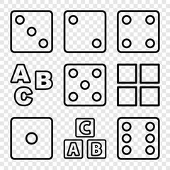 Set of 9 cube outline icons