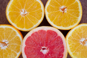 Abstract background with citrus-fruit slices. Studio photography.