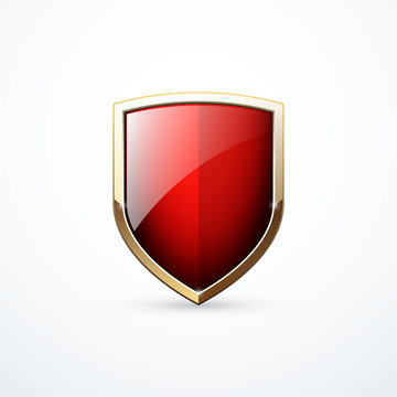 Vector gold and red shield