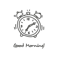 Hand drawn alarm clock icon