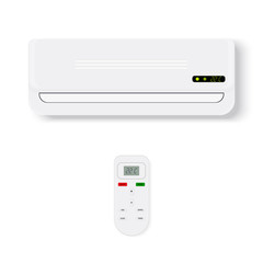 Split system air conditioner.Realistic conditioner with remote control. illustration isolated on white background
