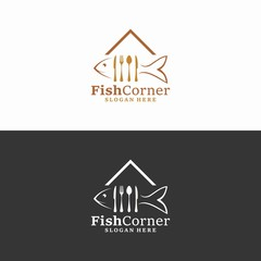 fish corner logo in vector