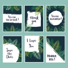 Universal  tropical cards vector set. Template design, page, mockup brochure, banner, cover, booklet, flyer, blank, card, party, invitation, placard, poster, flyer.