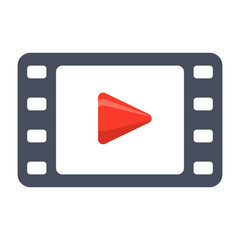 Film stock or video icon, vector illustration in flat style