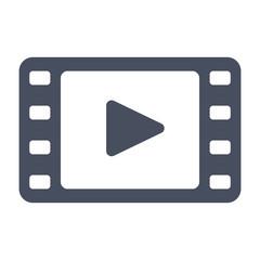 Film stock or video icon, black vector silhouette