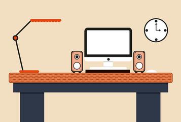 Flat design concept computer workstation on light background