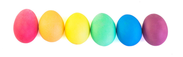 Row of easter eggs isolated on white background