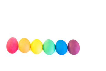 Row of easter eggs isolated on a white background