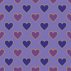 Pixel hearts. Vector seamless pattern