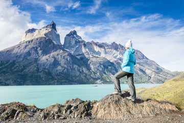 Tourist watching on the Los Cuernos in Torres del Paine National Park, Patagonia, Chile