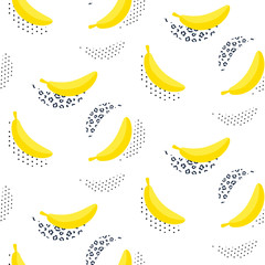 Banana pop art seamless vector pattern on white. Summer fruit repeat background.