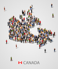 Large group of people in form of Canada map. Background for presentation.