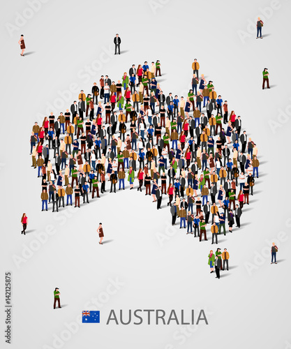 Large group of people in form of Australia map. Background for ...