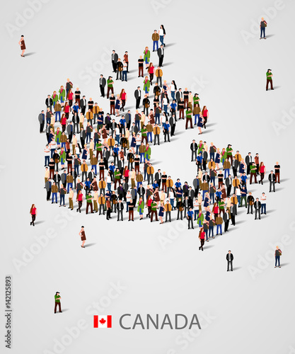Large group of people in form of Canada map. Background for ...