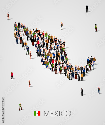 Large group of people in form of Mexico map. Background for ...