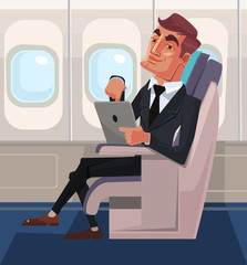 Passenger man character sitting in chair and relax in business class using tablet. Vector flat cartoon illustration