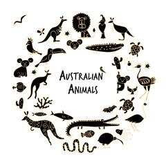 Australian animals set, sketch for your design