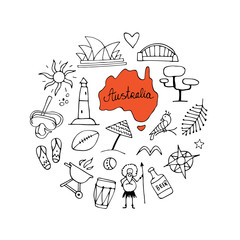 Australia icons set, sketch for your design