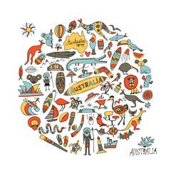 Australia icons set, sketch for your design