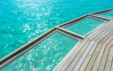 Vacation net seat in tropical Maldives island and beauty of the sea with the coral reefs .