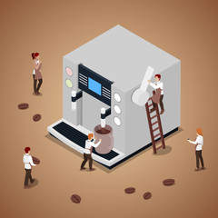 Miniature People Making Coffee with Espresso Machine. Vector flat 3d isometric illustration