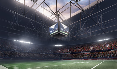 empty american football stadium 3D in light rays render