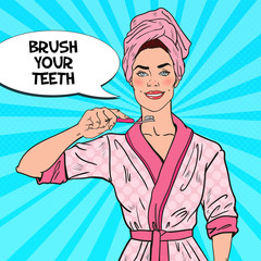 Pop Art Smiling Pretty Woman with Toothbrush. Dental Hygiene. Vector illustration