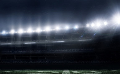 empty american football stadium 3D in lights at night render