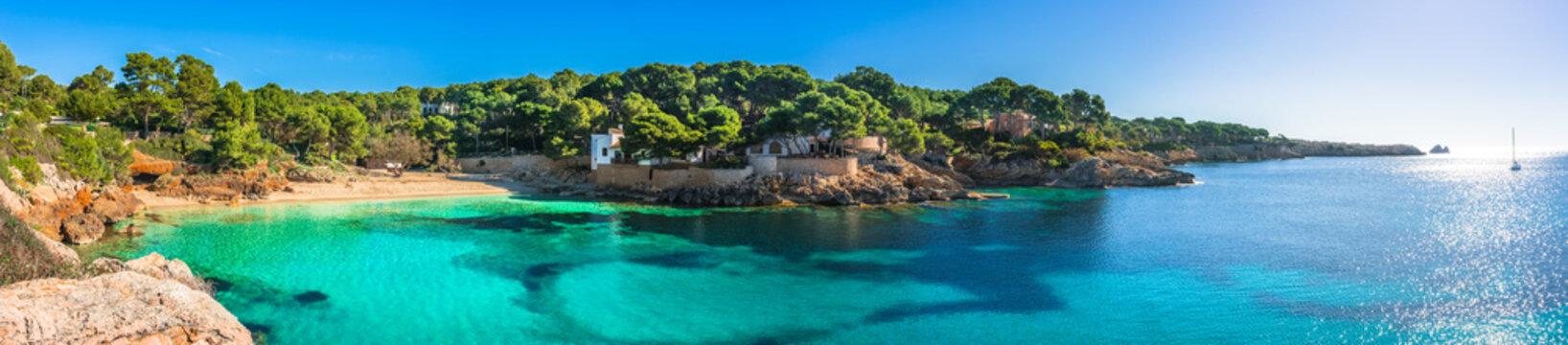 Beautiful panorama view of the beach and coast of Cala Gat in Cala Ratjada on Majorca Island, Spain Mediterranean Sea