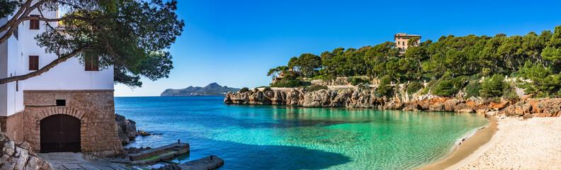 Fototapeta Spain Mediterranean Sea Majorca beach seaside Panorama of Cala Gat in Cala Ratjada