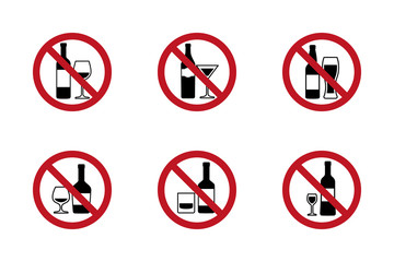 No alcohol Signs set with various drinks