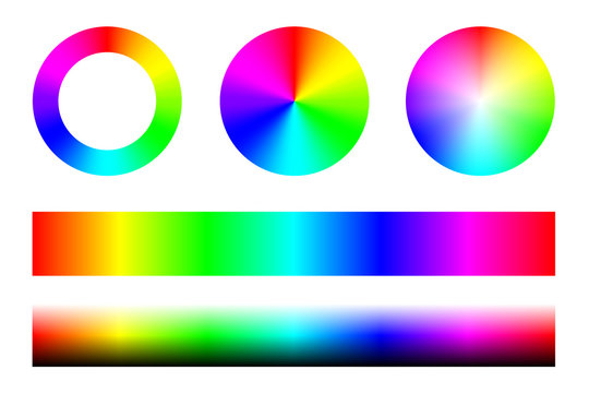 Set of color spectra RGB, wheel circles and stripes. Vector