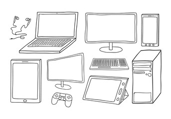 Electronic devices including computer, laptop, smart phone, tablets, keyboard, games controller and ear phones. White filled, isolated on background.