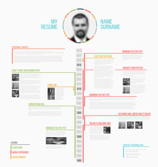 Vector timeline minimalist cv / resume template