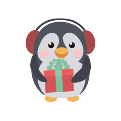 Cute penguin with a gift and earflaps