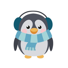 Cute penguin with earflaps and scarf