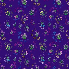 Seamless floral pattern, spring flowers saffron. Pattern fills, vector. Print for gift wrapping, fabric. Dark blue background, lilac, purple, blue, yellow, pink colored crocus flowers.