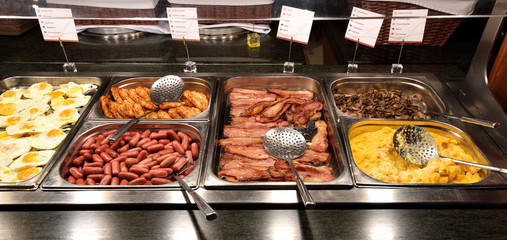 Aluminium Prints Buffet, Bar Delicious and abundant breakfast buffet with various sorts of food