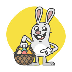 Easter Bunny Points on Basket with Eggs