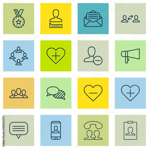 Set Of 16 Communication Icons Includes Team Organisation Read