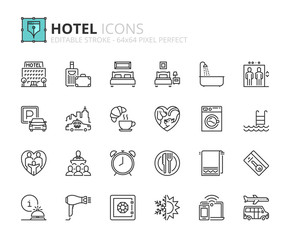 Outline icons about hotel
