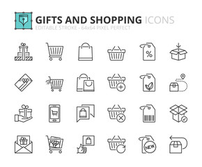Outline icons about gifts and shopping