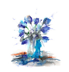 Bright bouquet of flowers. Watercolor flowers on white background. Abstract illustration.